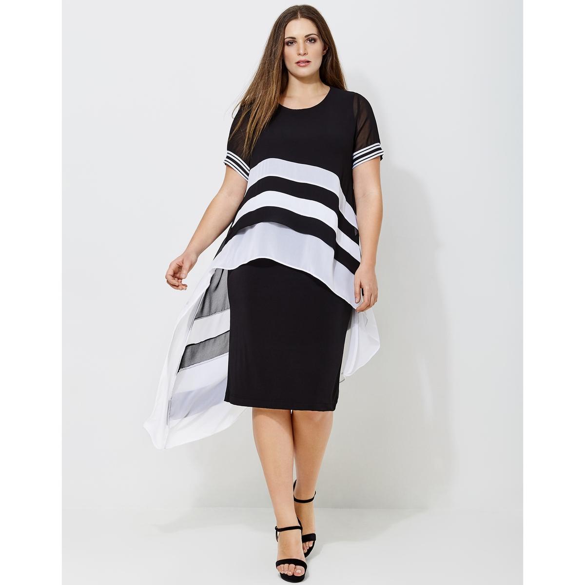 Платье длинное расклешенное с короткими рукавамиОписание:Детали •  Форма : расклешенная •  Длина ниже колен •  Короткие рукава    •   V-образный вырез •  Графический рисунокСостав и уход •  0% эластана, 100% полиэстер •  Следуйте рекомендациям по уходу, указанным на этикетке изделияТовар из коллекции больших размеров<br><br>Цвет: черный + белый