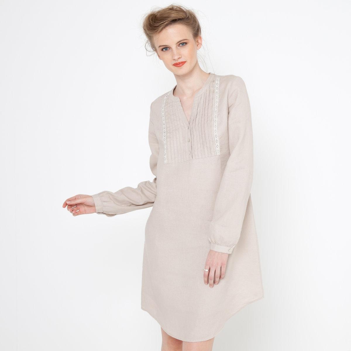 Платье из 100% льнаПлатье. Рукава 3/4. Складки и вышивка по вырезу. Съемный пояс. Длина ок.92 см.<br><br>Цвет: бежевый