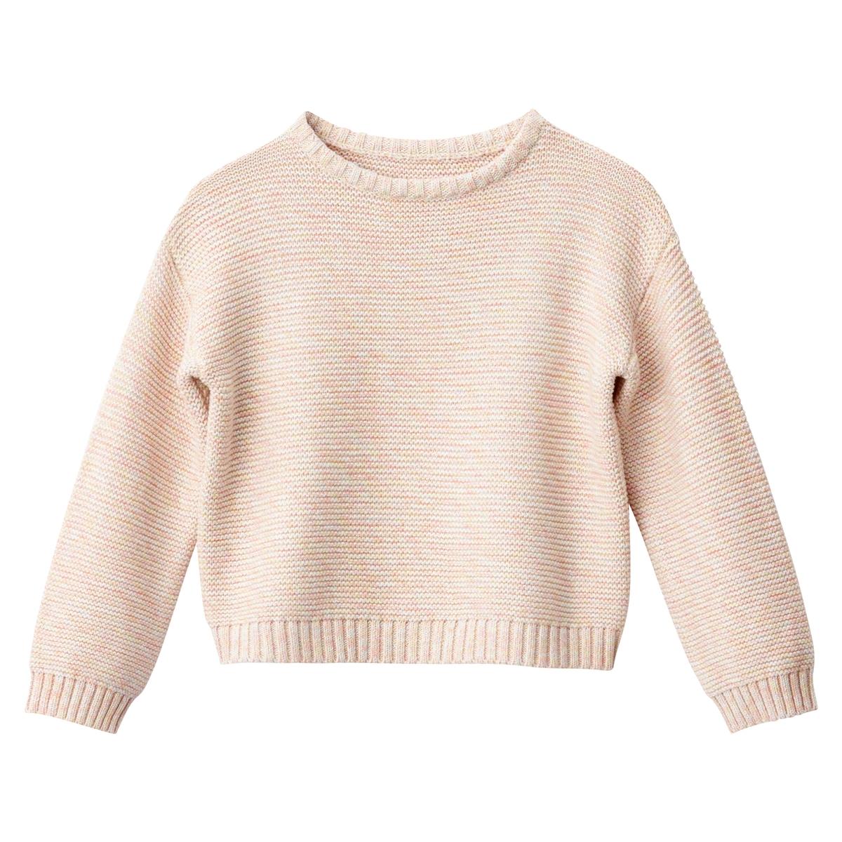 Pull scollo rotondo maglia mouliné da 3 a 12 anni