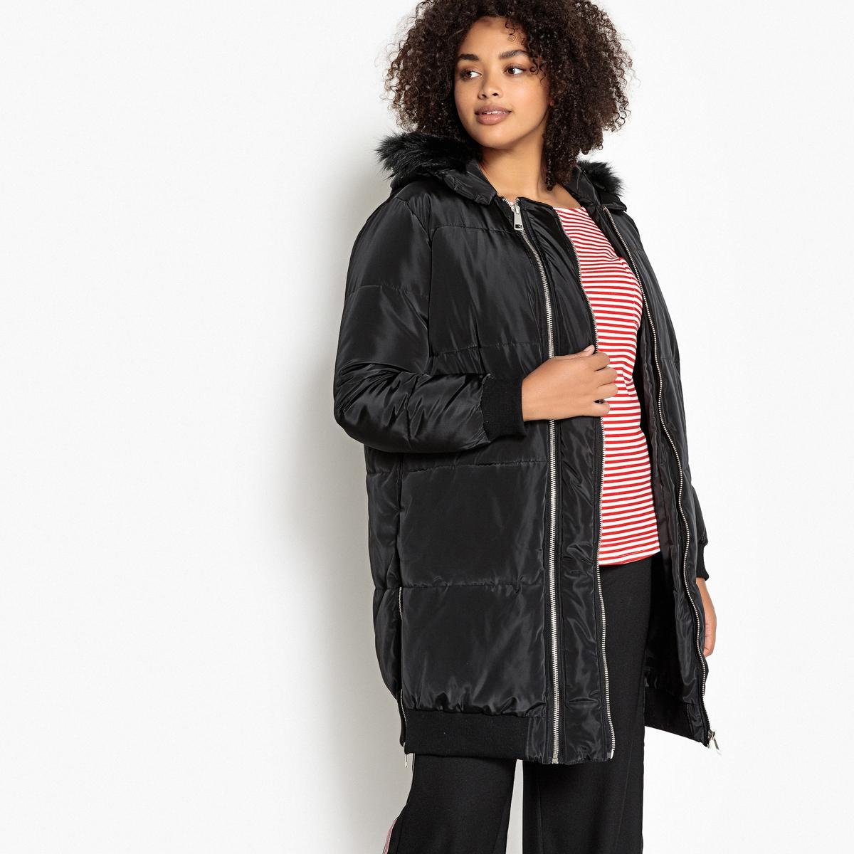 Куртка стеганая длинная на молнии с капюшоном для зимы CASTALUNA