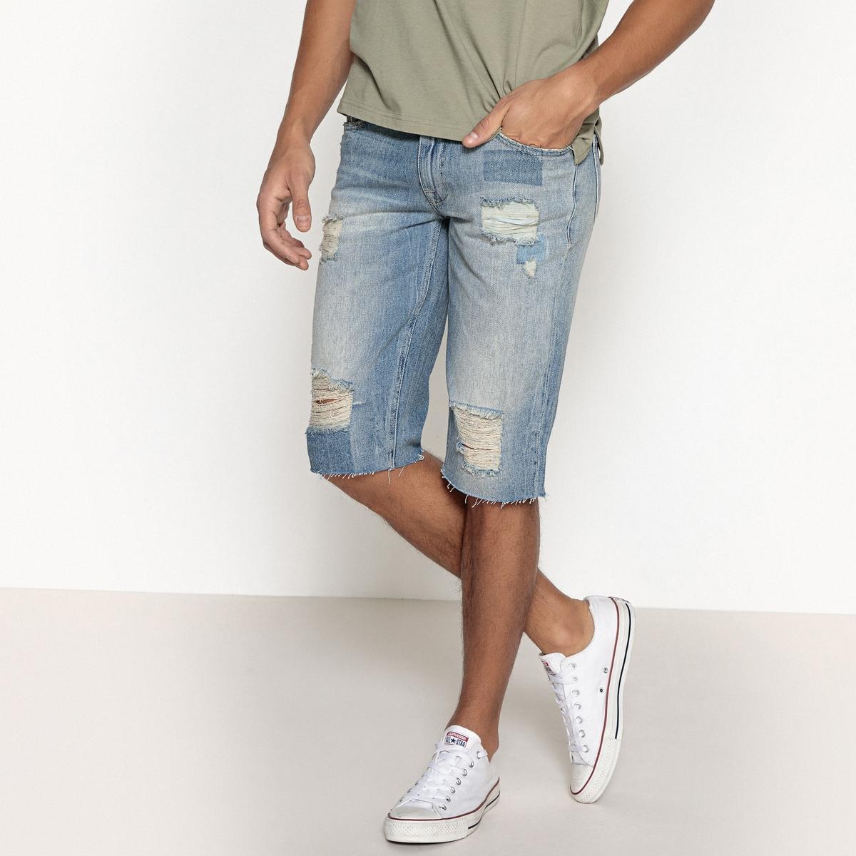 Бермуды с 5 карманами из джинсы с состаренным эффектом