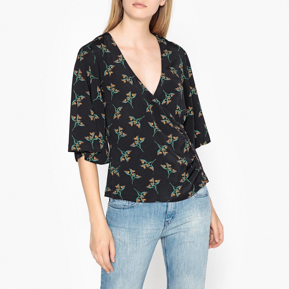 Блузка с V-образным вырезом и короткими рукавами FERDY блузка кружевная с короткими рукавами