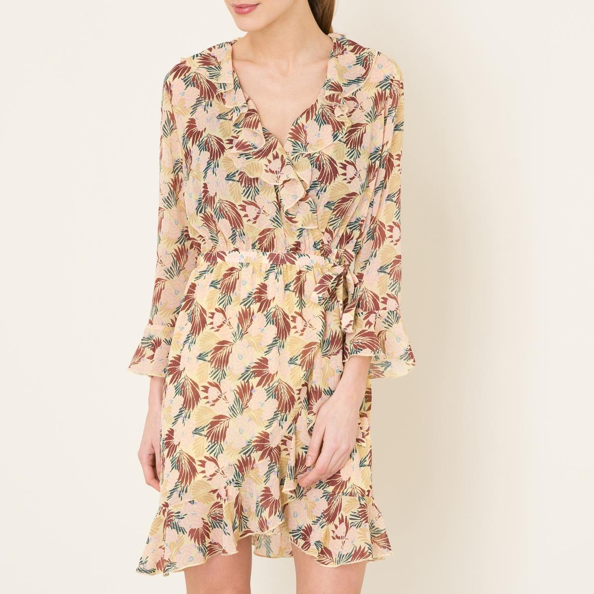 Платье с запахом и воланамиСостав и описание    Материал : 100% полиэстер   Марка : MAISON SCOTCH<br><br>Цвет: черный,экрю