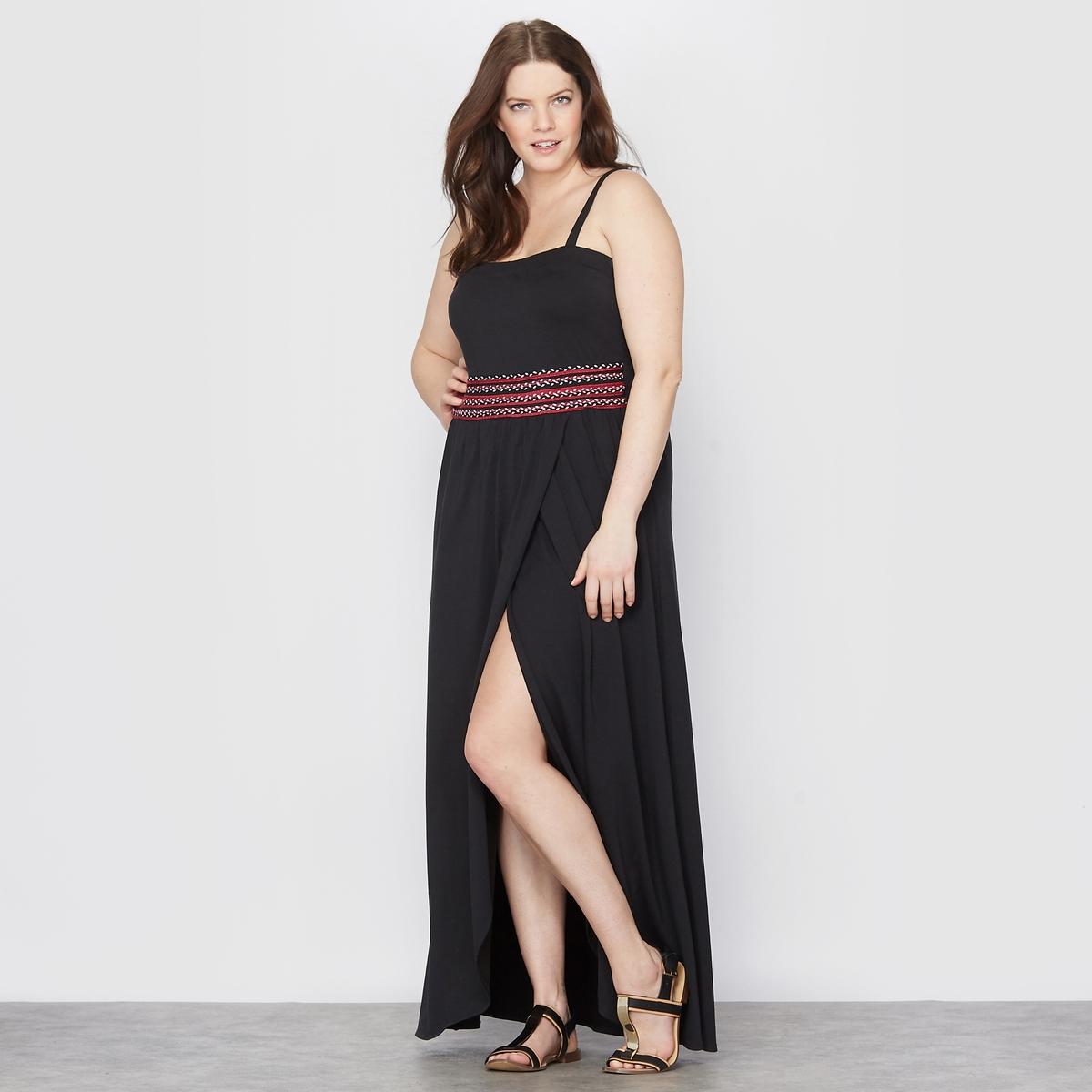 Платье длинноеПлатье-бюстье длинное . Съемные бретели. Вышивка на поясе и оборки сзади . 47% хлопка, 47% модала, 6% эластана . Длина ок.120 см.<br><br>Цвет: черный<br>Размер: 44 (FR) - 50 (RUS).54 (FR) - 60 (RUS)