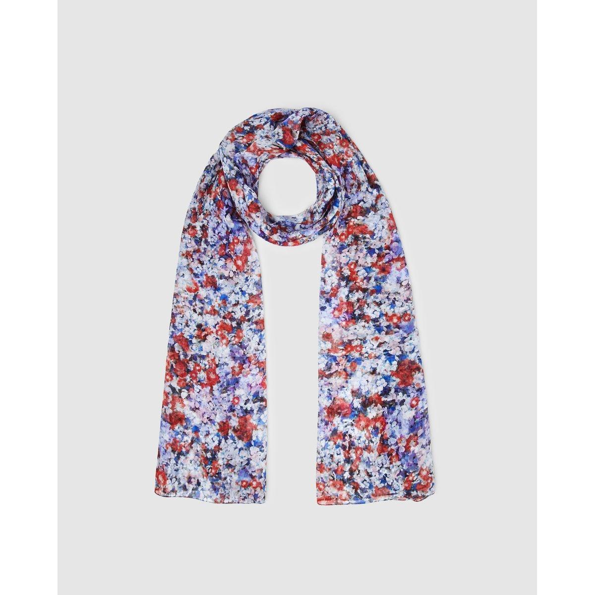 Foulard en soie bleu et à imprimé floral