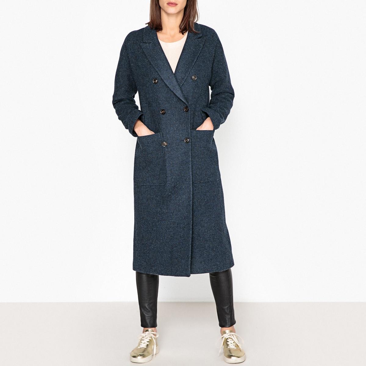 Пальто прямое с пиджачным воротником, из шерстяного драпа длинное пальто из шерстяного драпа