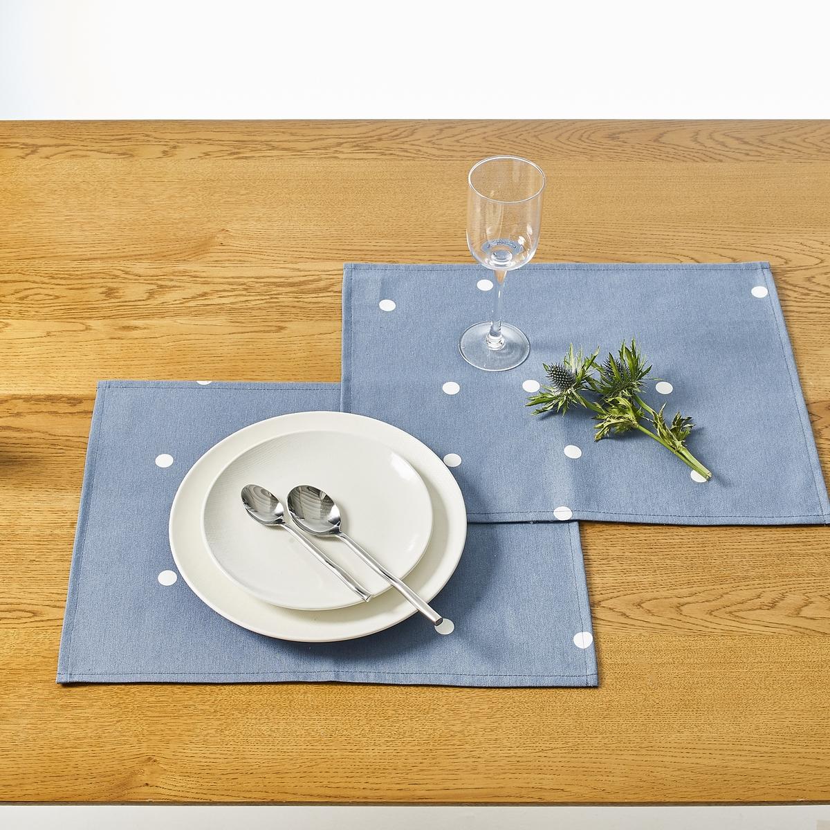 2 подложки под столовые приборы с рисунком и пропиткой  AURELIAКомплект из 2 подложек под столовые приборы Aur?lia из поликоттона с обработкой против пятен Teflon  .Характеристики 2 подложек под столовые приборы Aur?lia :70% хлопка, 30% полиэстера с водоотталкивающей обработкой и обработкой против пятен Teflon Рисунок в белый горох на однотонном фонеПодшитые краяМашинная стирка при 40°.Возможна машинная сушка.Всю коллекцию Aur?lia Вы найдете на laredoute.ruРазмеры подложки под столовые приборы Aur?lia :35 x 45 см<br><br>Цвет: бледно-зеленый,Серо-синий,серый,терракота<br>Размер: единый размер.единый размер