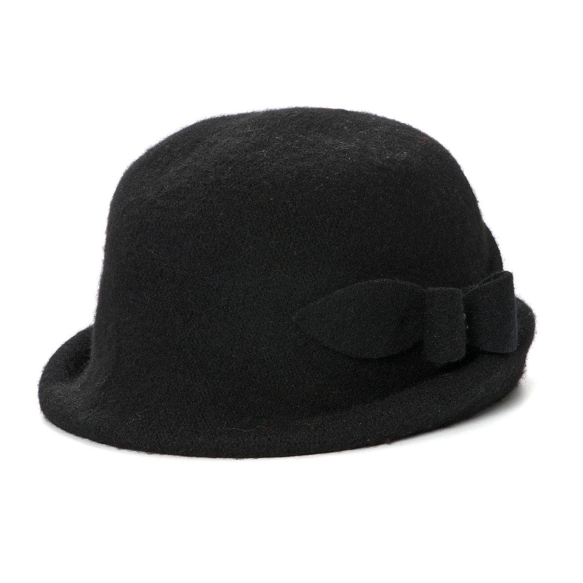 Шляпка-клошМягкий фетр, 100% шерсти. Украшена бантом со стразами.<br><br>Цвет: черный