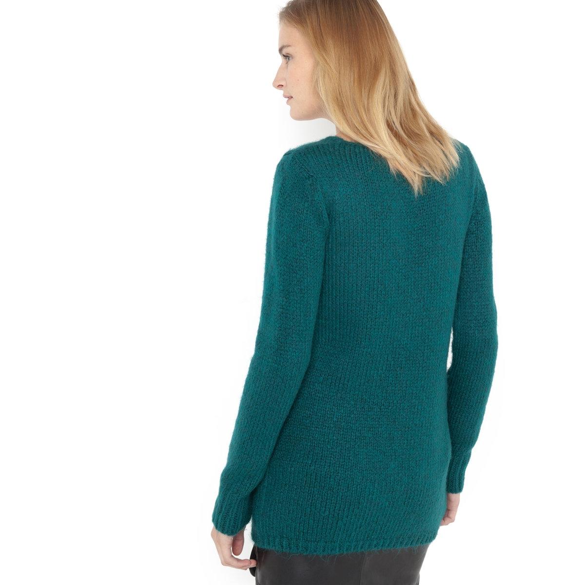 Пуловер с длинными рукавамиПуловер с длинными рукавами и большим V-образным вырезом. 87% акрила, 13% полиэстера. Длина 70 см. Объемный и очень мягкий.<br><br>Цвет: сине-зеленый<br>Размер: 42/44 (FR) - 48/50 (RUS)