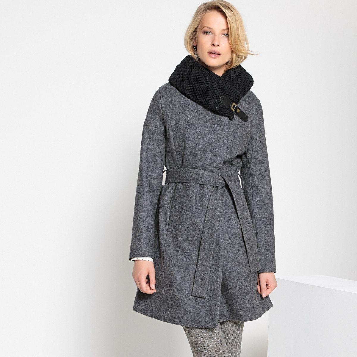 Manteau ceinturé en laine mélangée
