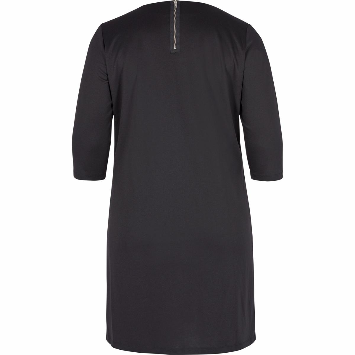 ПлатьеПлатье с рукавами 3/4 - ZIZZI. 95% полиэстера, 5% эластана. Красивое платье с рукавами 3/4 и круглым вырезом. Можно надевать для любого случая<br><br>Цвет: черный<br>Размер: 54/56 (FR) - 60/62 (RUS).46/48 (FR) - 52/54 (RUS)