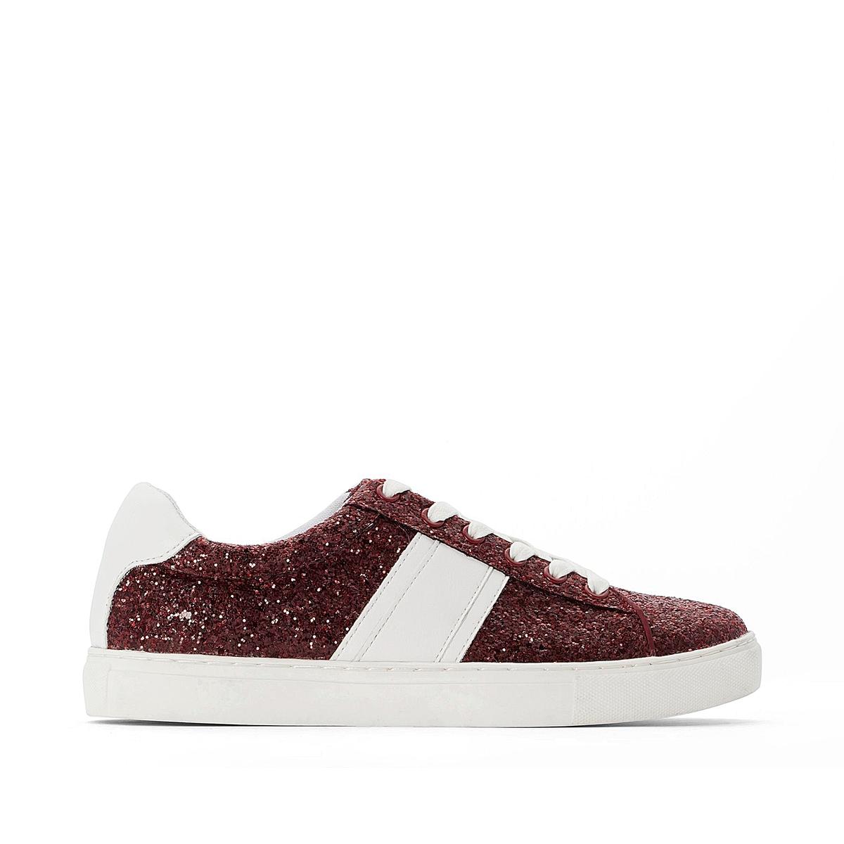 Блестящие La Redoute Кроссовки со шнурками 36 красный
