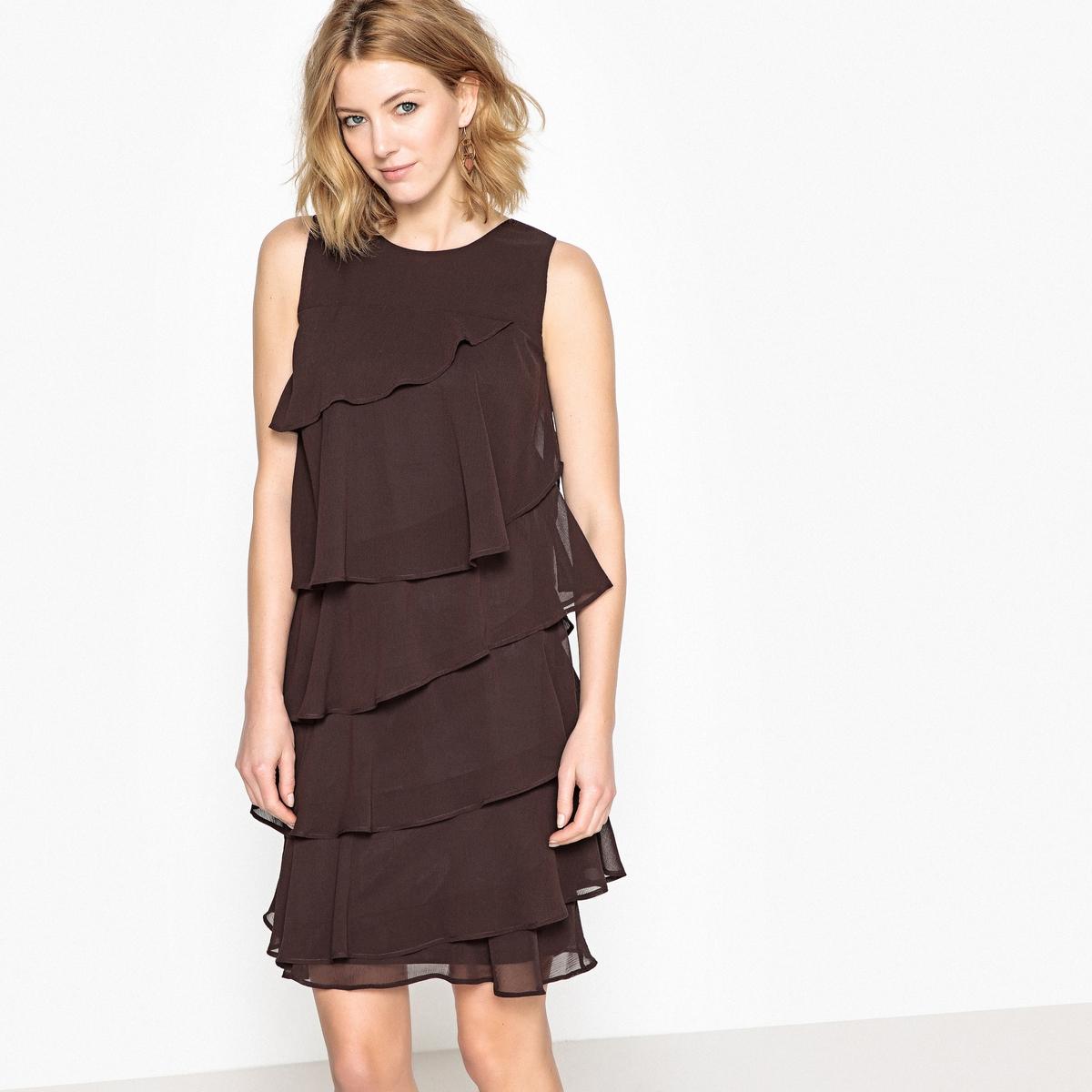 Платье с воланами без рукавов от ANNE WEYBURN
