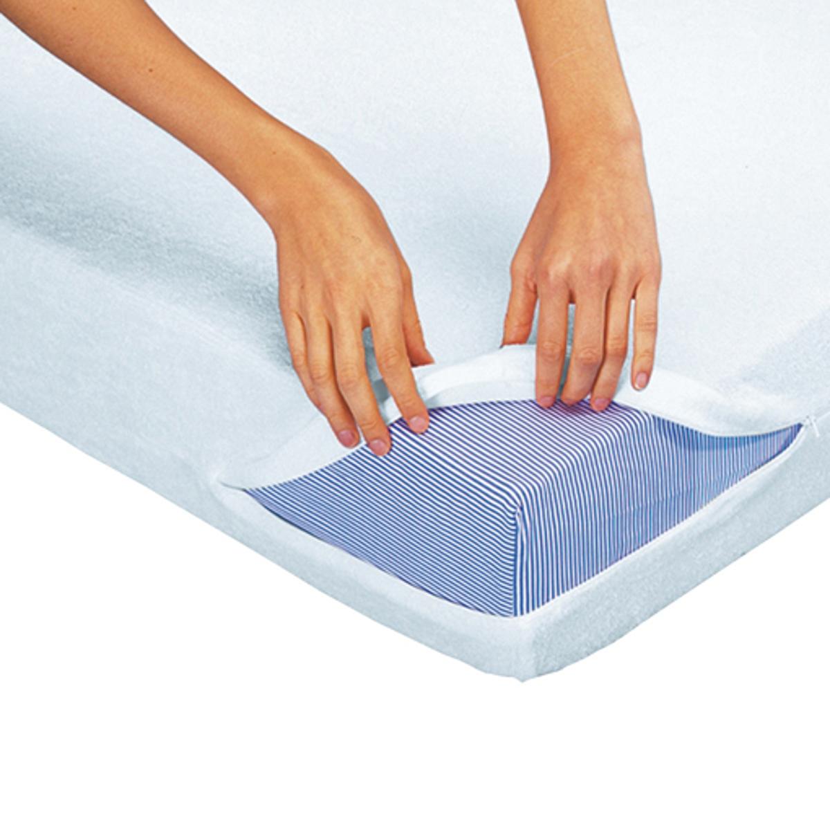 Наматрасник La Redoute Цельный из махровой ткани с противомикробной обработкой BI-OME 160 x 200 см белый чехол защитный на подушку из махровой ткани с противомикробной обработкой