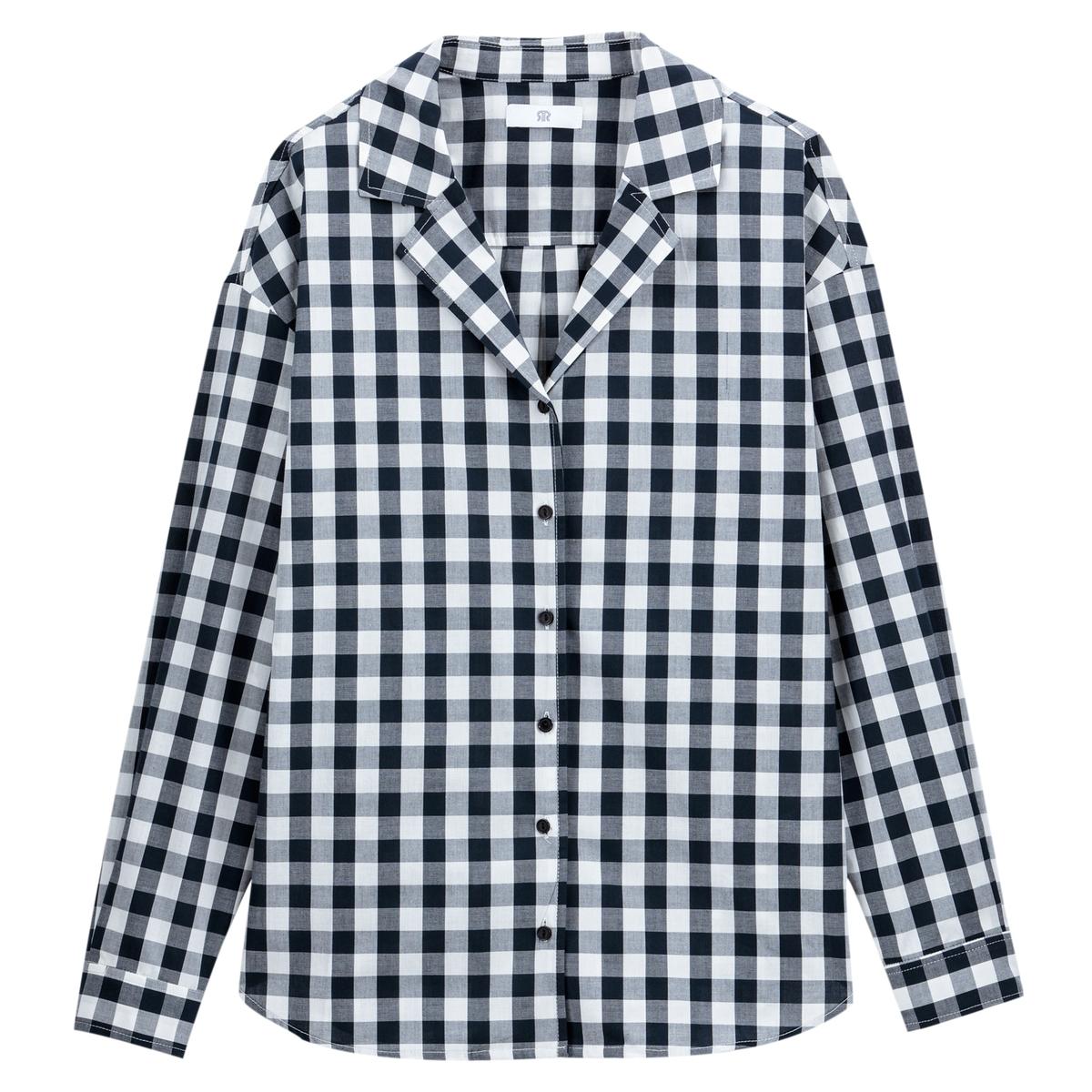 Camisa con estampado vichy cuello sastre