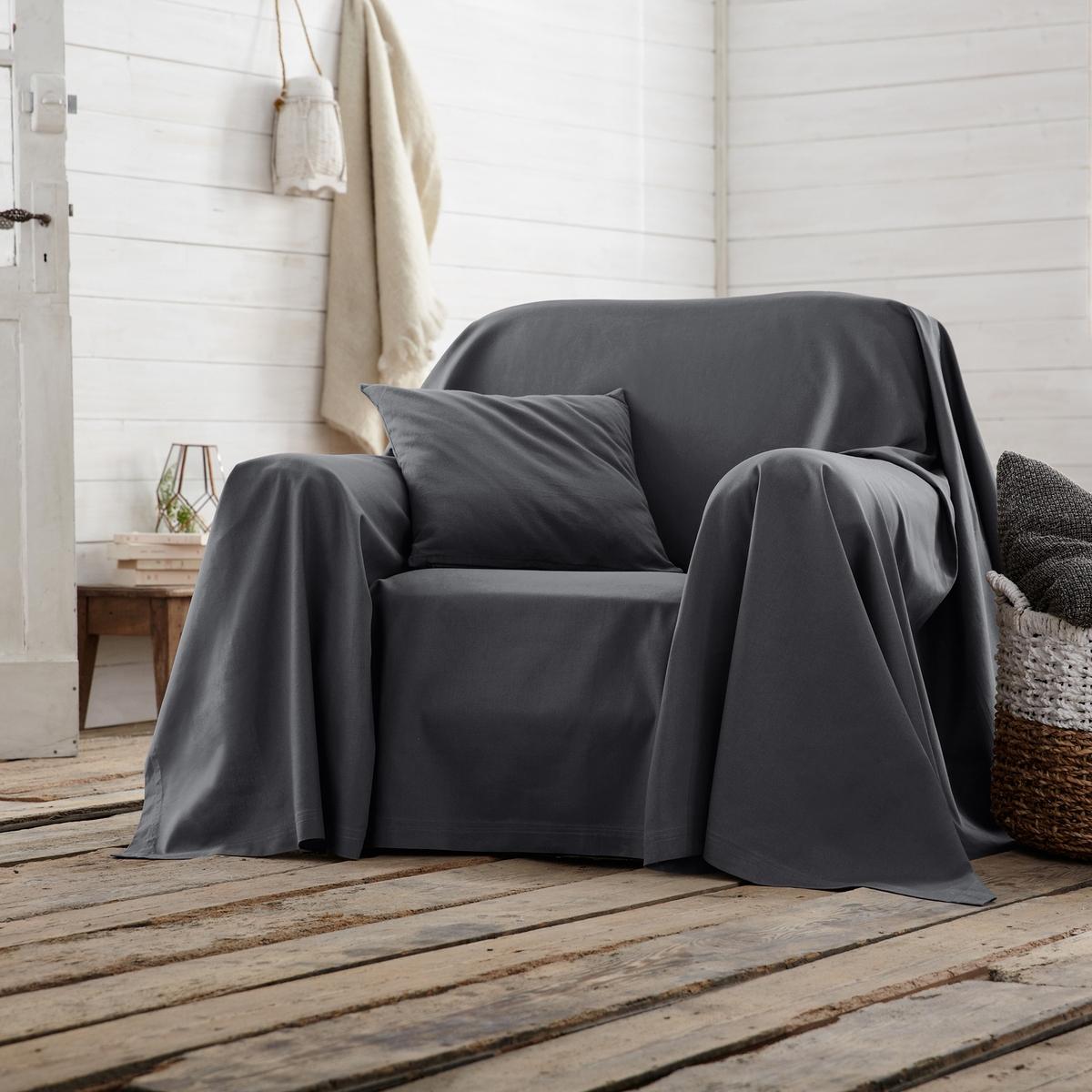 Покрывало для кресла или дивана однотонноеХарактеристики покрывала для кресла или дивана :- Плотная ткань из 100% хлопка (220 г/м?).- Простой уход: стирка при 40°, великолепная стойкость цвета.Производство осуществляется с учетом стандартов по защите окружающей среды и здоровья человека, что подтверждено сертификатом Oeko-tex®.<br><br>Цвет: белый,синий индиго,сливовый,черный,экрю