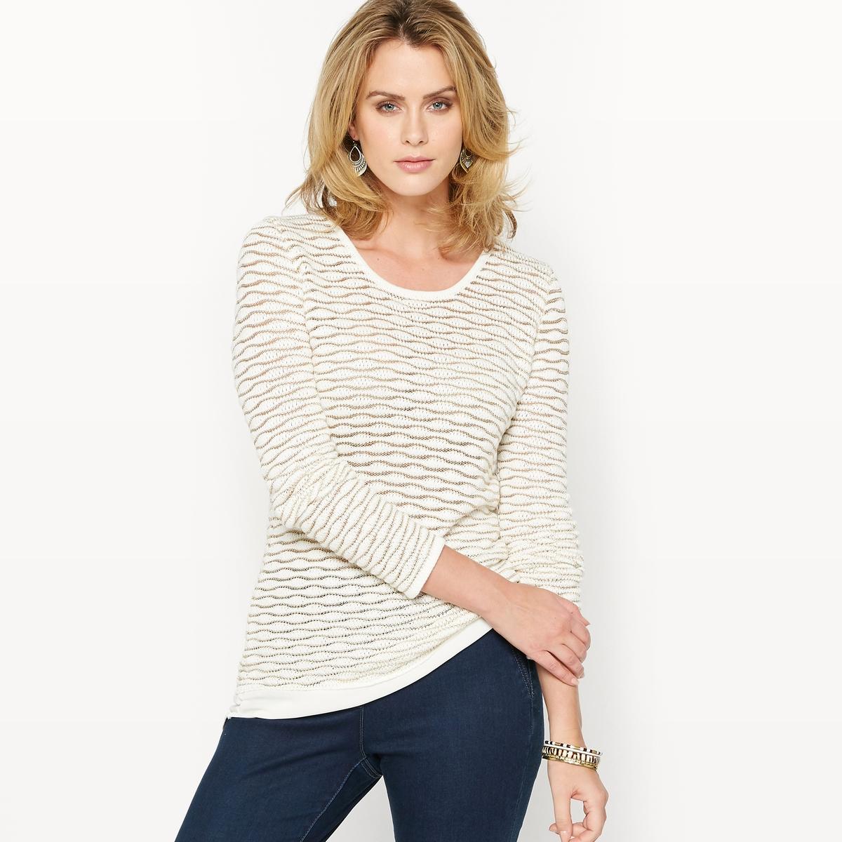 Пуловер с эффектом 2 в 1 из оригинального трикотажа пуловер с капюшоном из оригинального трикотажа