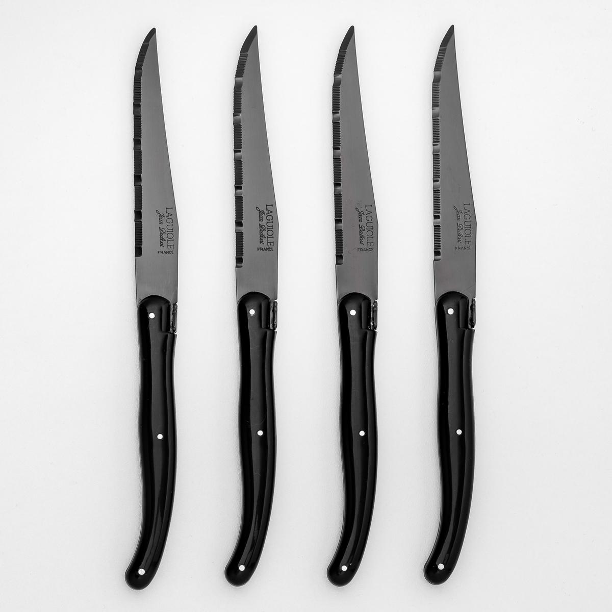 Нож для мяса с черным лезвием Laguiole Jean Dubost (комплект из 4 штук)4 ножа для мяса « New Age » Laguiole Jean Dubost. Рукоятка из пластика ABS черного блестящего цвета. Тонкое лезвие из нержавеющей стали толщ. 1,2 мм, покрытое пленкой черного цвета при очень высокой температуре . Можно мыть в посудомоечной машине. Сделано вручную во Франции .<br><br>Цвет: черный