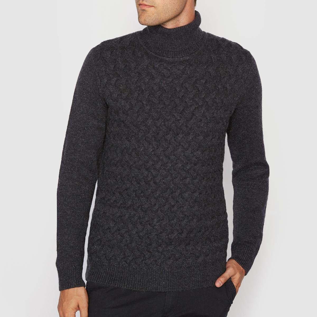 Пуловер с закатывающимся воротником и узором косы из меланжевого трикотажа