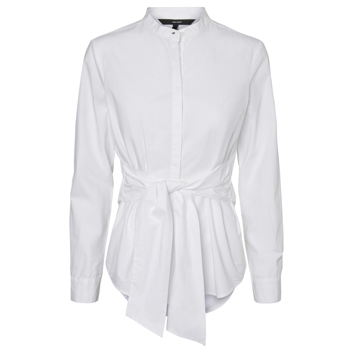 Блузка однотонная с круглым вырезом с разрезом и длинными рукавами