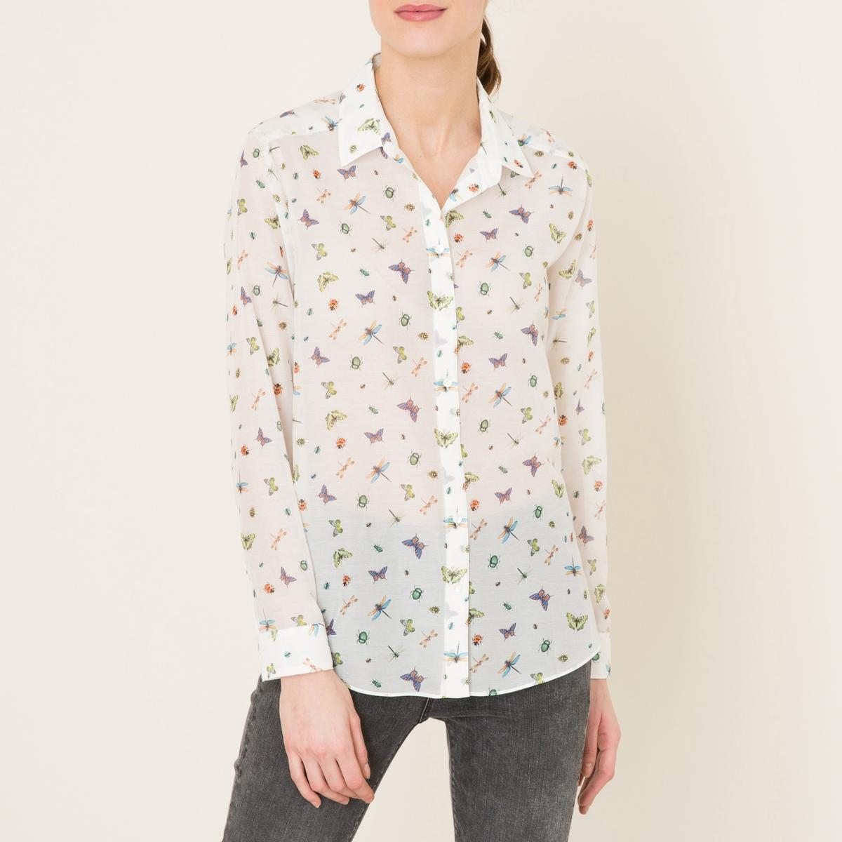Рубашка с рисункомРубашка THE KOOPLES - из хлопка и шелка  со сплошным принтом бабочки . Воротник со свободными уголками. Планка спереди и манжеты с застежкой на пуговицы. Слегка закругленный низ. Состав и описание    Материал : 70% хлопка, 30% шелка   Марка : THE KOOPLES<br><br>Цвет: экрю