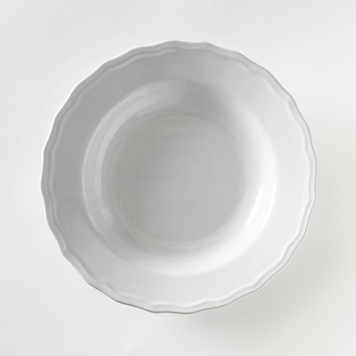 4 тарелки глубокие с отделкой фестоном, Ajila4 тарелки глубокие с отделкой фестоном Ajila . Завтрак, обед или ужин, La Redoute Int?rieurs Вас приглашает к столу.Характеристики 4 тарелок глубоких с отделкой фестоном Ajila  :- Из фаянса, зубчатая кромка.- Диаметр 20,5 см  .- Можно использовать в посудомоечных машинах и микроволновых печах.Плоские, десертные тарелки, чашки, кружки и блюдца Ajila продаются на нашем сайте.<br><br>Цвет: белый,серо-коричневый<br>Размер: единый размер