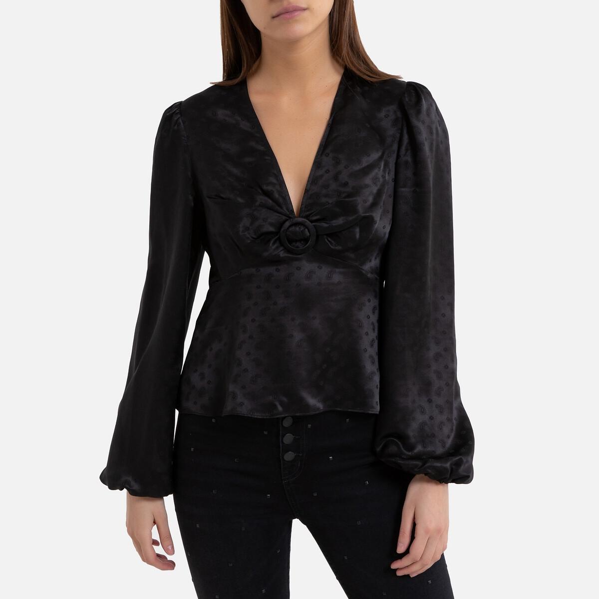 Blusa satinada con estampado jacquard, de manga larga