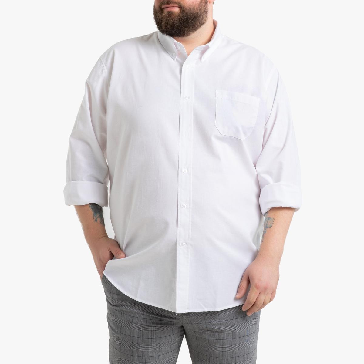 Фото - Рубашка LaRedoute Прямого покроя с длинными рукавами 53/54 серый юбка laredoute джинсовая прямого покроя xs синий