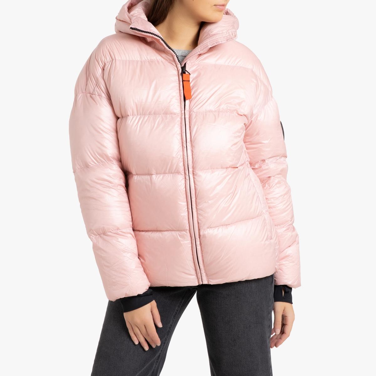 цена Куртка La Redoute Стеганая короткая с капюшоном MIKA GLOSSY M розовый в интернет-магазинах