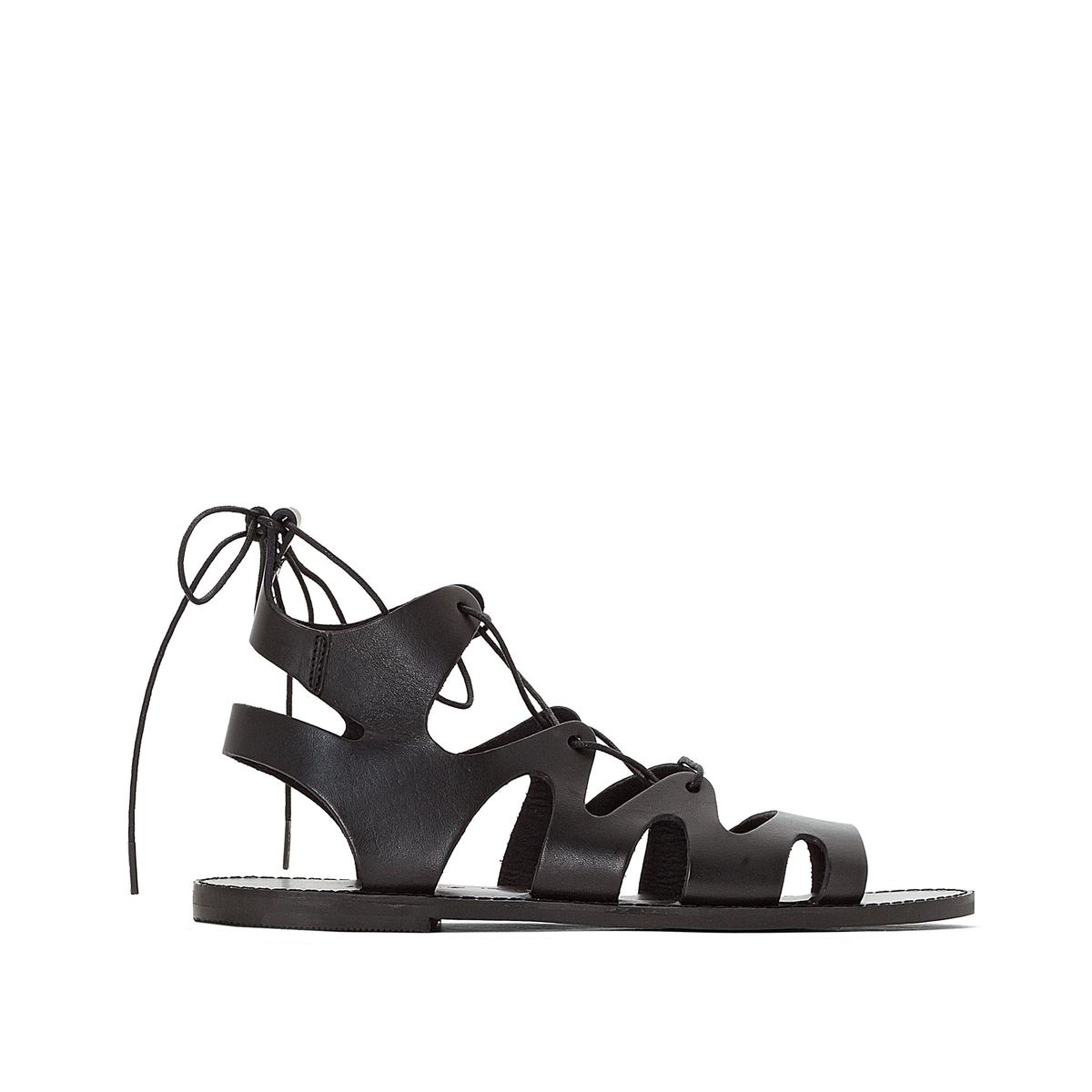 Босоножки кожаные высокие AlixВерх : кожа       Подкладка : кожа       Стелька : кожа       Подошва : эластомер       Форма каблука : плоский каблук       Мысок : закругленный мысок       Застежка : шнуровка<br><br>Цвет: черный<br>Размер: 37.38