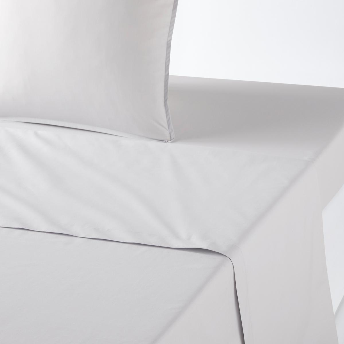 Простыня La Redoute Из перкали из биохлопка 180 x 290 см серый пододеяльник la redoute с рисунком из перкали из биохлопка kalinda 260 x 240 см синий