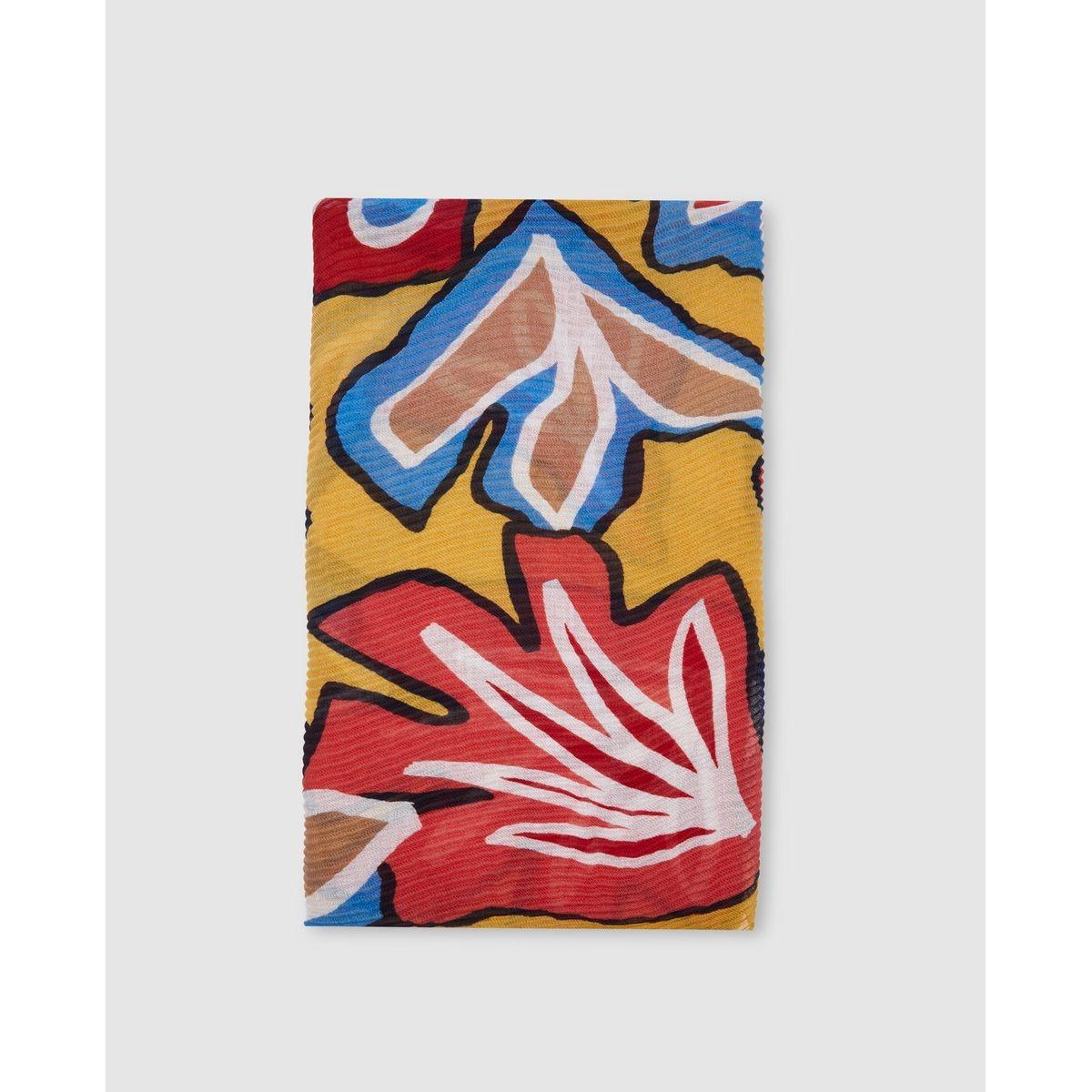 Foulard plissé  à imprimé floral