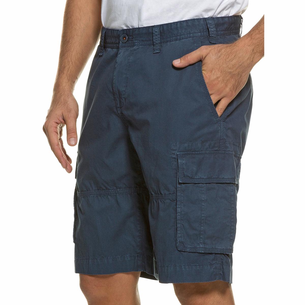 БермудыБермуды карго JP1880. Ультра комфортный покрой, рисунок JP1880 на внутренней поверхности пояса. 4 кармана и 2 дополнительных кармана на бедрах. 100% хлопок. Длина по внутр.шву. 30-30,75 см<br><br>Цвет: синий