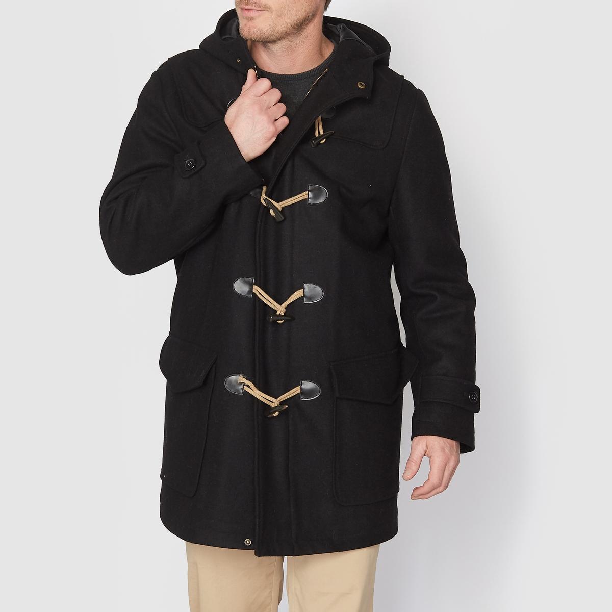 Пальто короткое с капюшоном драповоеКороткое пальто с капюшоном. Отличный элемент зимнего гардероба! С капюшоном. Драп: 65% шерсти, 25% полиэстера, 5% других волокон, 5% акрила, двойная подкладка 100% полиэстер. Длина 89 см.Застежка на молнию, застежки-петли из шнура, пуговицы с имитацией шнура. 2 накладных кармана. 2 внутренних кармана. Манжеты с застежкой-планкой на пуговицы.<br><br>Цвет: черный