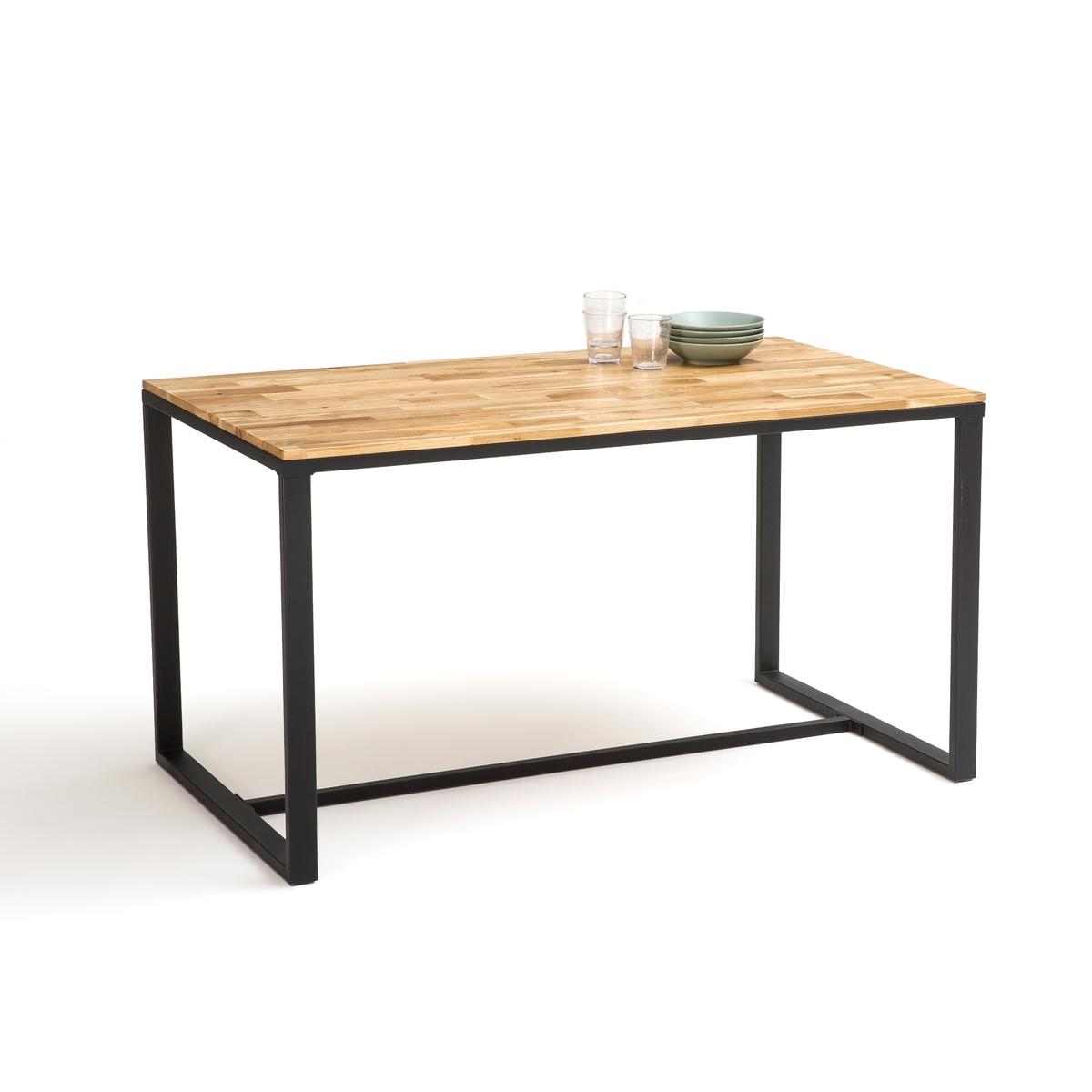 Стол La Redoute Для кухни приборов из дуба и стали Hiba 6 персоны бежевый стол la redoute с инкрустацией на персон mosaque 6 персоны бежевый