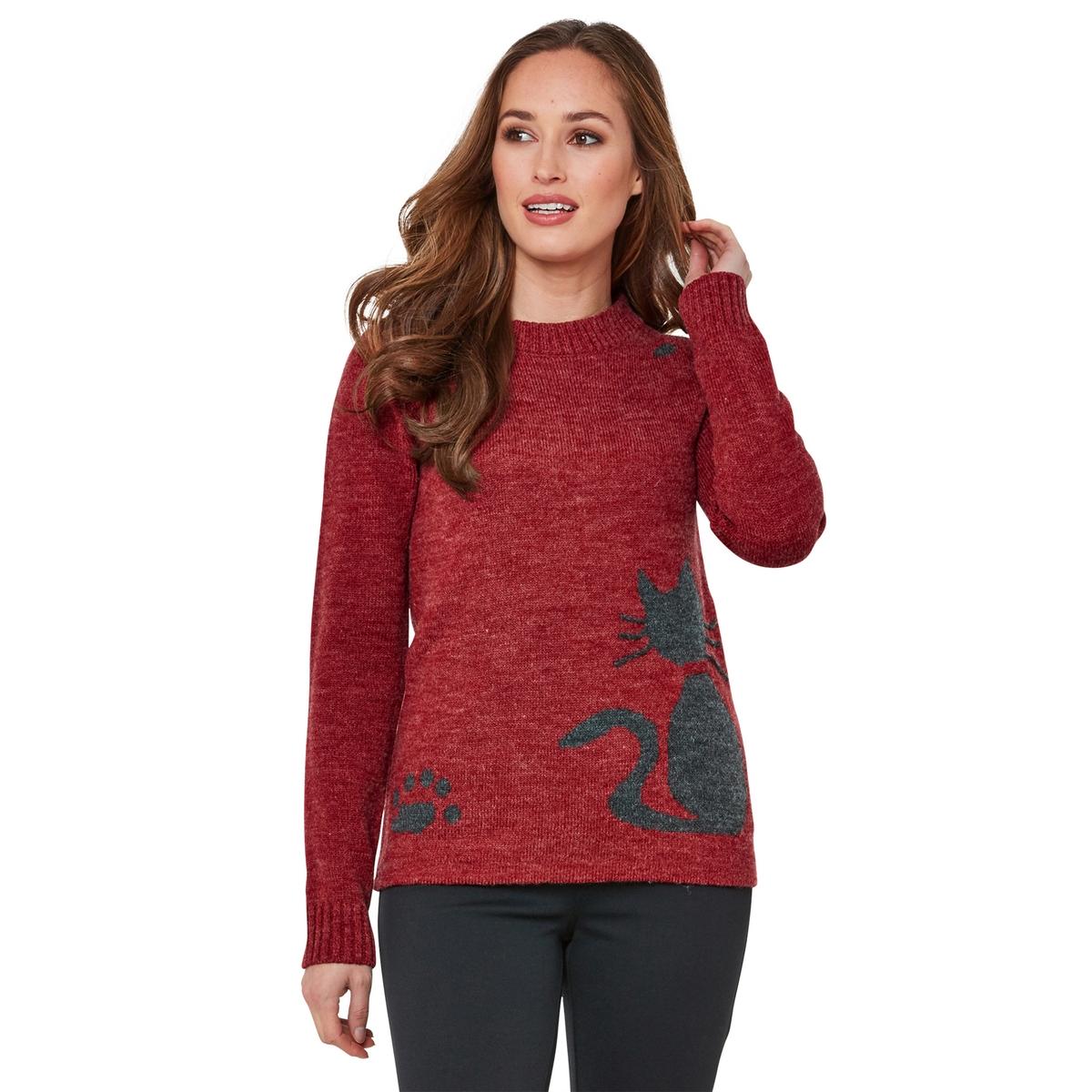 Пуловер La Redoute С круглым вырезом и длинными рукавами из тонкого трикотажа 36 (FR) - 42 (RUS) красный пуловер la redoute с круглым вырезом из тонкого трикотажа m красный