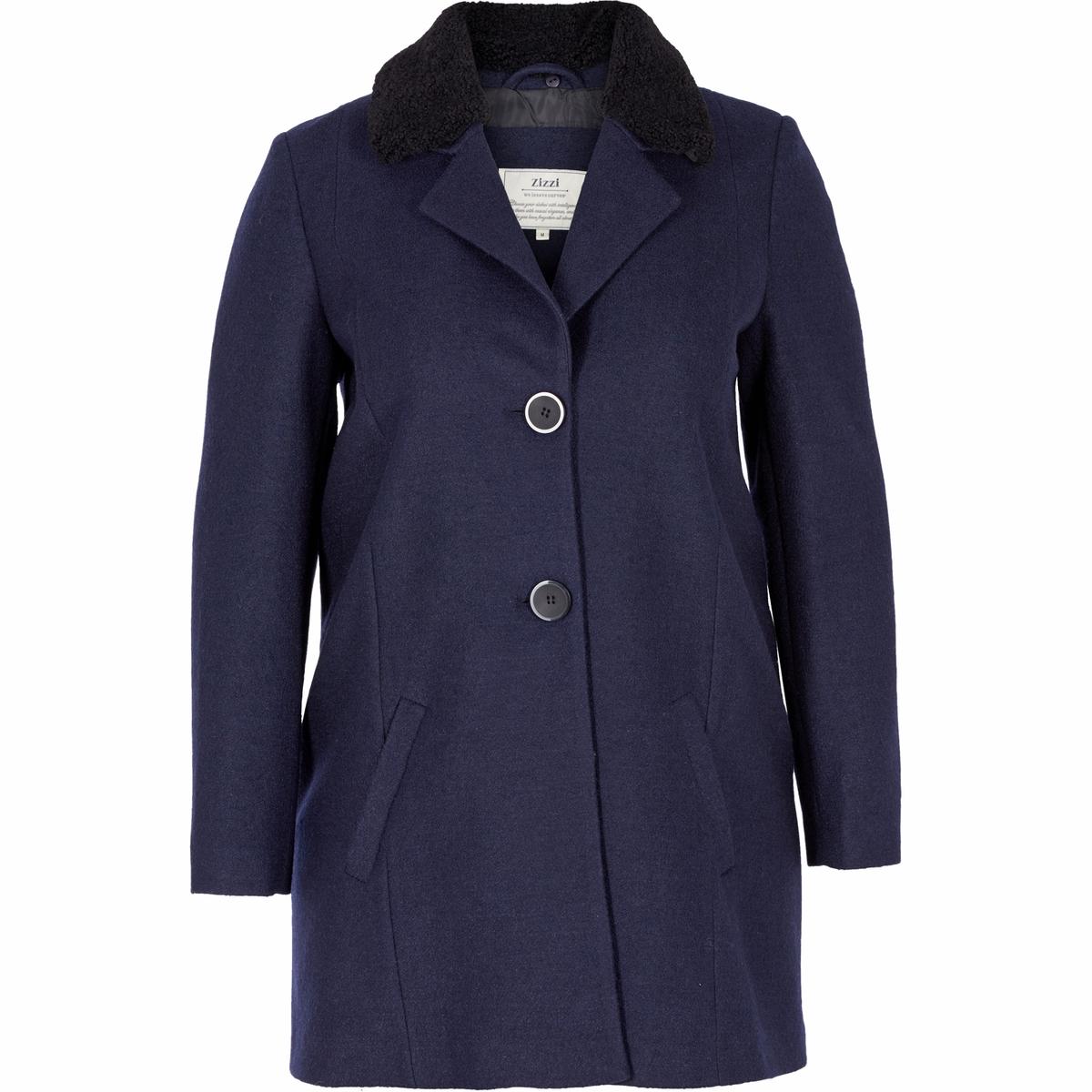 Пальто, 50% шерстиКосые карманы в боковых швах придают пальто одновременно классический и элегантный стиль. Съемный воротник.Состав и описаниеМатериал:  70% полиэстера, 30% шерстиМарка: ZIZZI<br><br>Цвет: темно-синий<br>Размер: 42 (FR) - 48 (RUS).44 (FR) - 50 (RUS)
