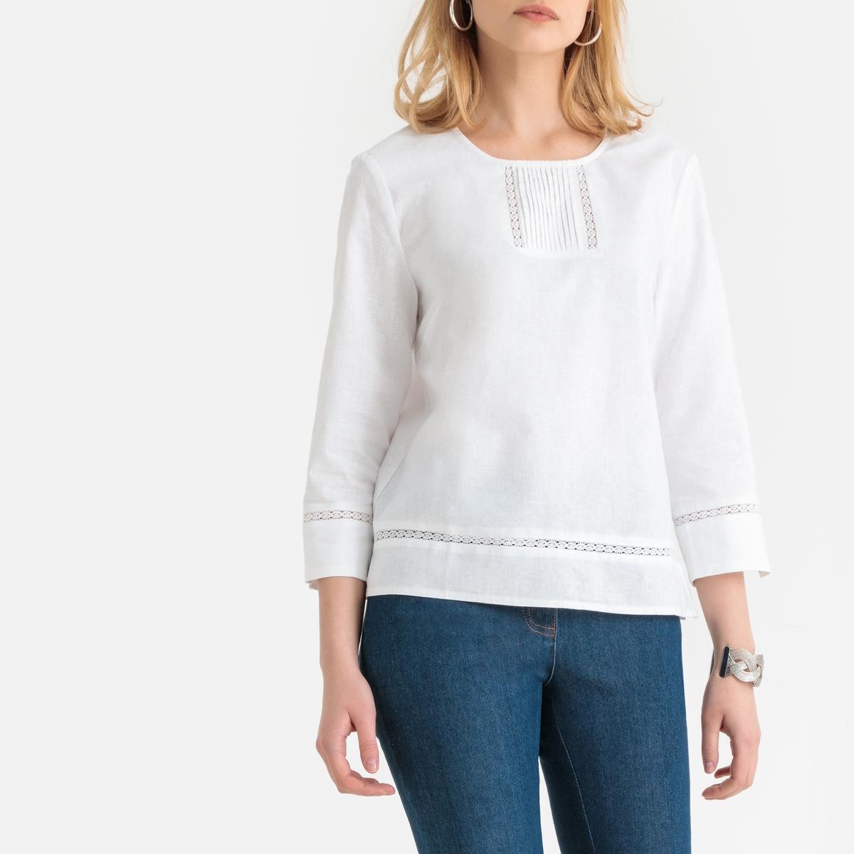 Imagen secundaria de producto de Blusa fantasía de algodón y lino, con manga 3/4 - Anne weyburn