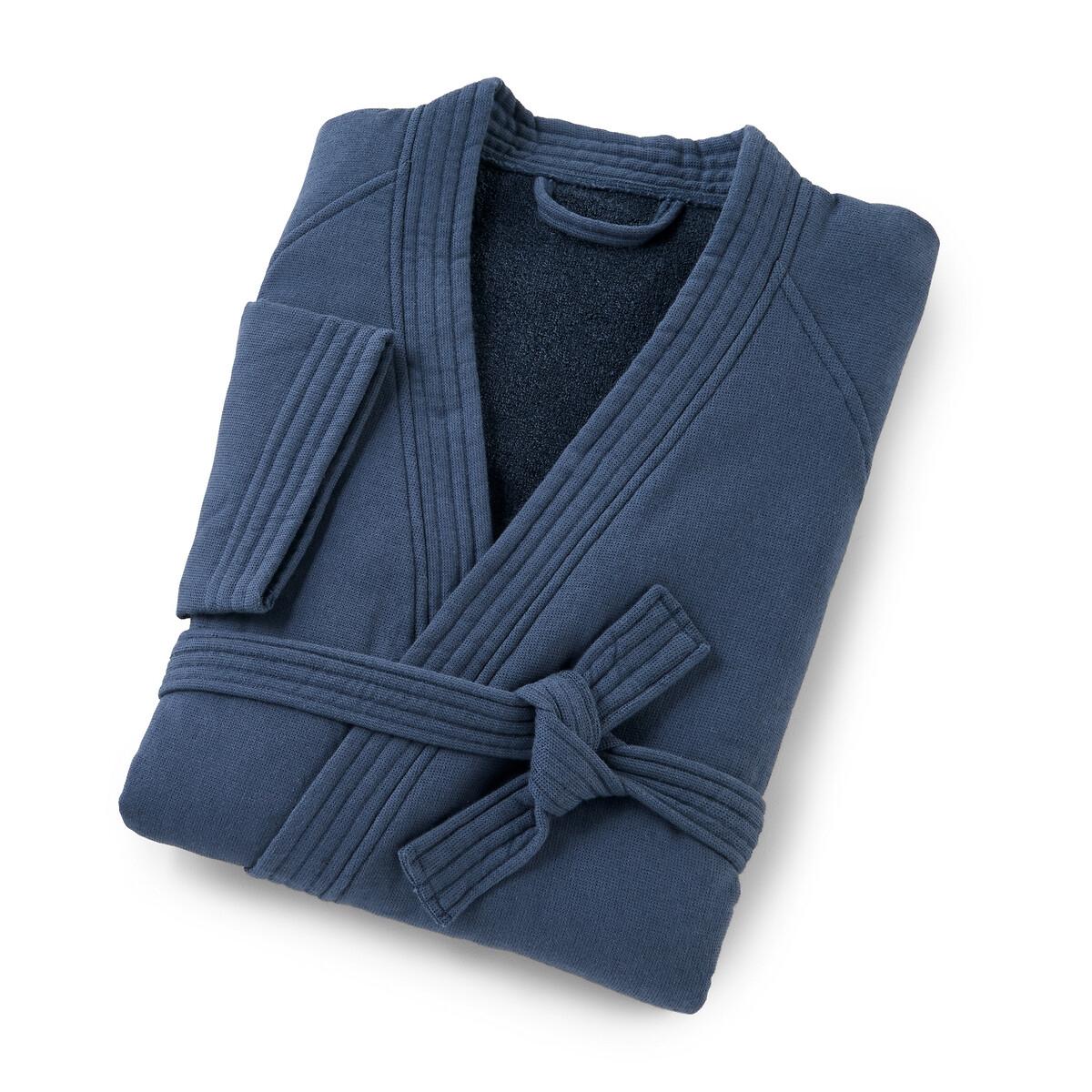 Пеньюар-кимоно LaRedoute — Из двух материалов Japanese 46/48 (FR) - 52/54 (RUS) синий