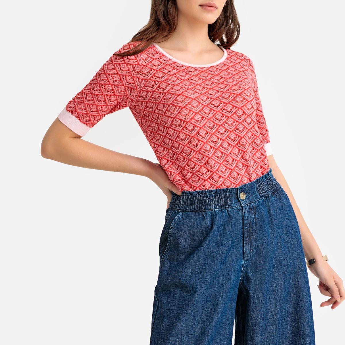 цена Пуловер La Redoute С круглым вырезом с короткими рукавами из тонкого трикотажа M розовый онлайн в 2017 году