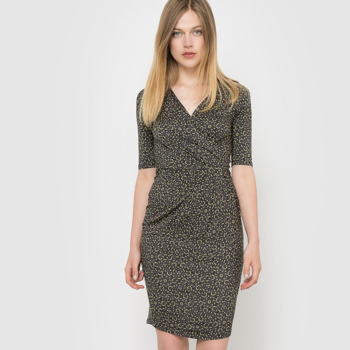 Фото Платье трикотажное с рукавами 3/4 и рисунком. Купить с доставкой