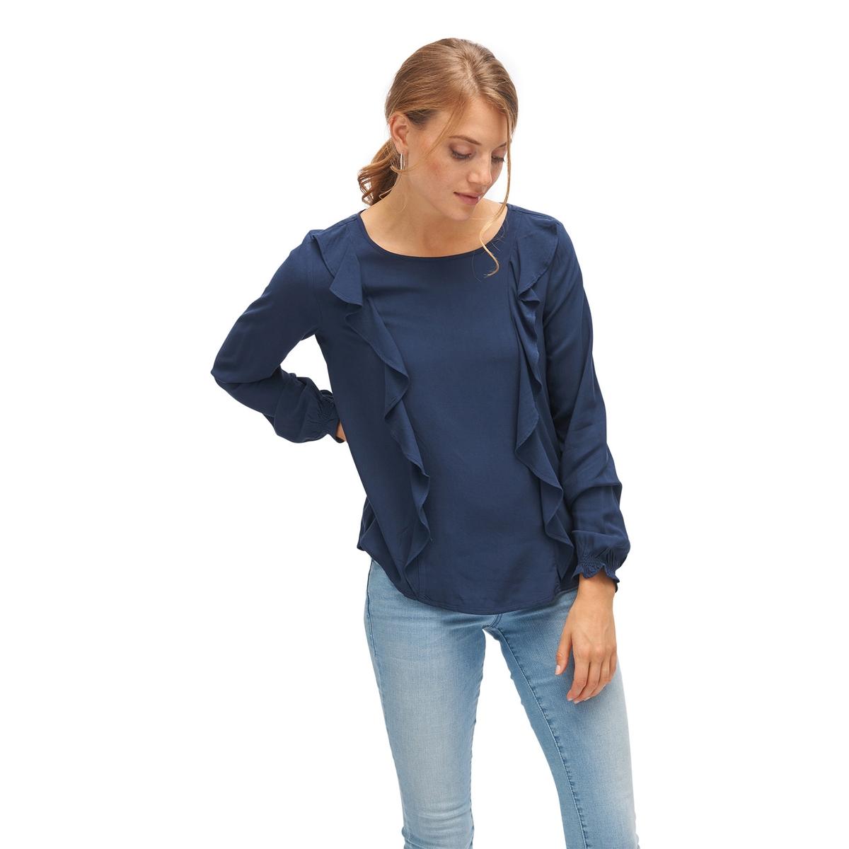 Блузка с круглым вырезом, рисунком и длинными рукавамиДетали •  Длинные рукава •  Круглый вырезСостав и уход •  100% вискоза •  Следуйте советам по уходу, указанным на этикетке<br><br>Цвет: темно-синий<br>Размер: 40 (FR) - 46 (RUS)