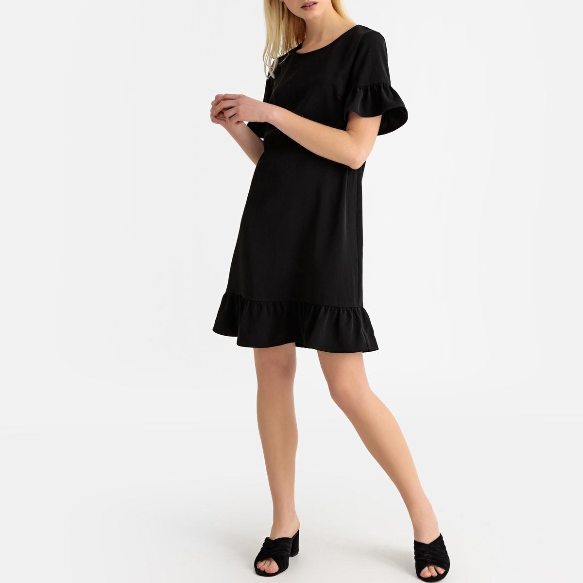 Платье La Redoute Короткое расклешенное с баской и короткими рукавами 38 (FR) - 44 (RUS) черный