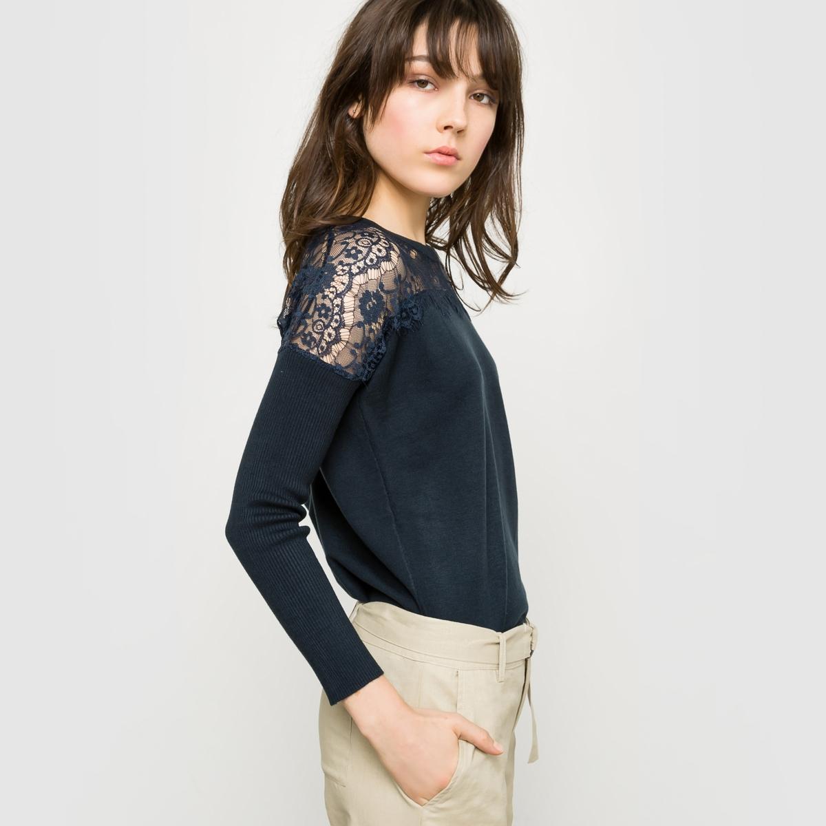 Пуловер с круглым вырезом и кружевной вышивкой
