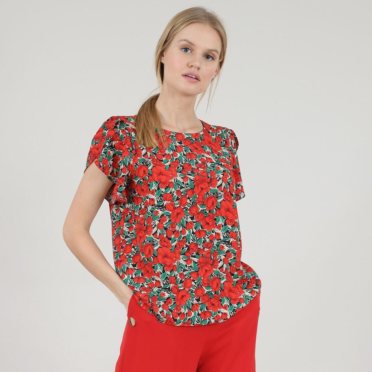 Блузка La Redoute С цветочным рисунком короткими рукавами с воланами M красный