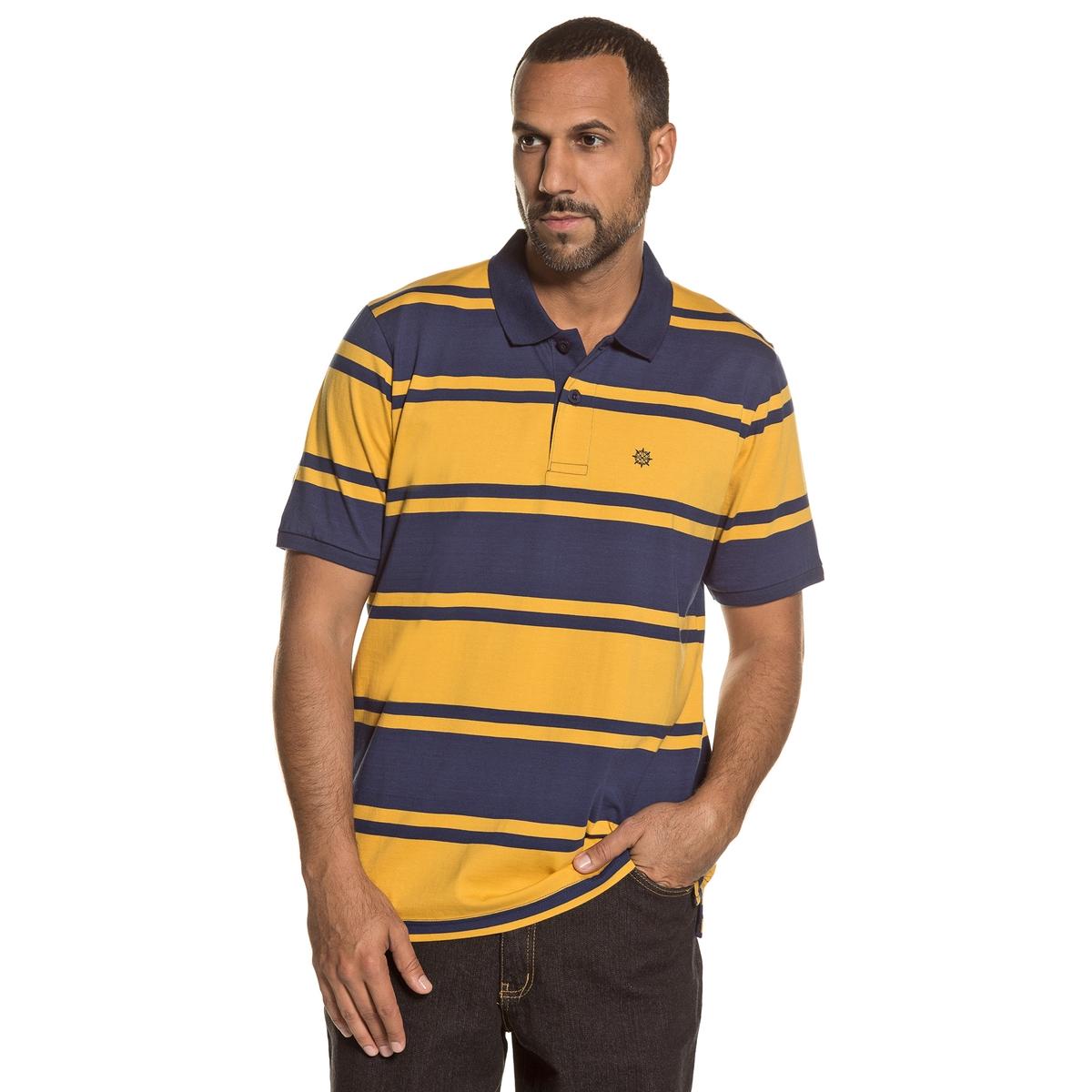 Футболка-поло с разрезом на вырезе и короткими рукавамиОписание:Детали •  Короткие рукава •  Прямой покрой •  Тунисский вырез •  Рисунок в полоску  Состав и уход •  100% хлопок •  Следуйте советам по уходу, указанным на этикеткеТовар из коллекции больших размеров<br><br>Цвет: в полоску синий/желтый<br>Размер: 5XL