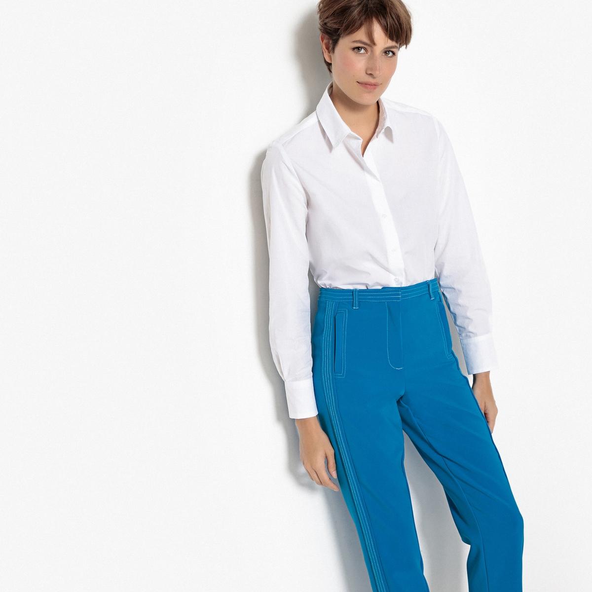 Блузка прямого покроя с длинными 100% хлопок