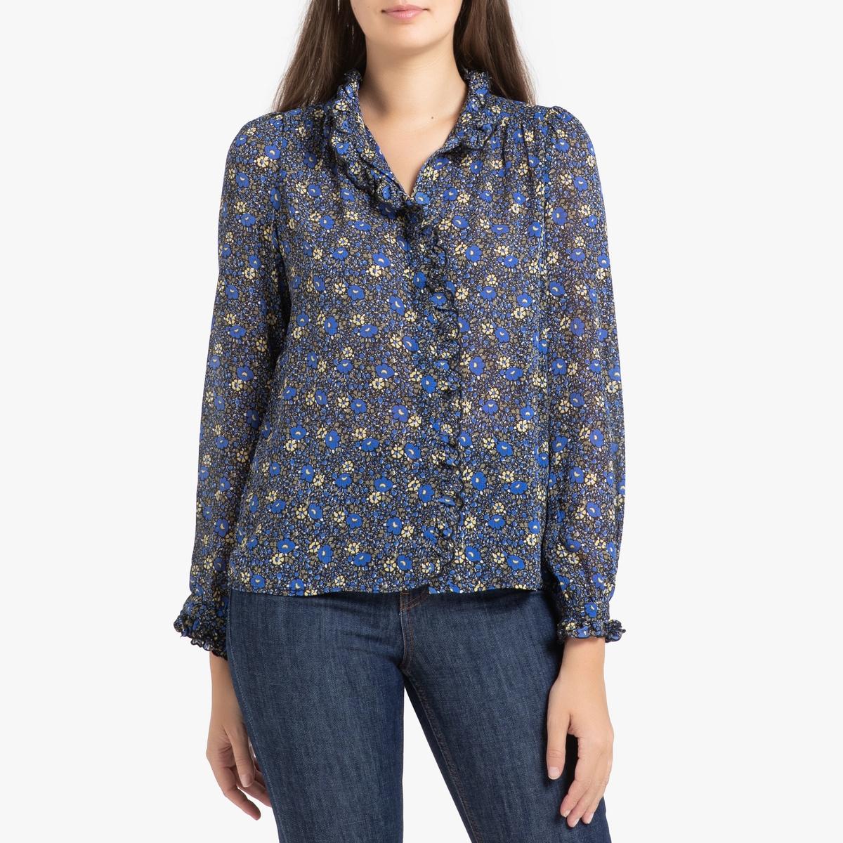 Рубашка La Redoute С длинными рукавами CHAN XS синий цена 2017