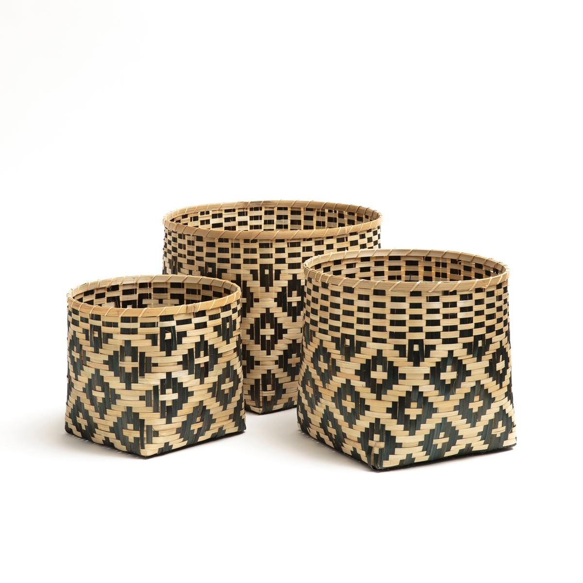 где купить Корзины La Redoute Плетеные из бамбука CHICASAW единый размер бежевый дешево