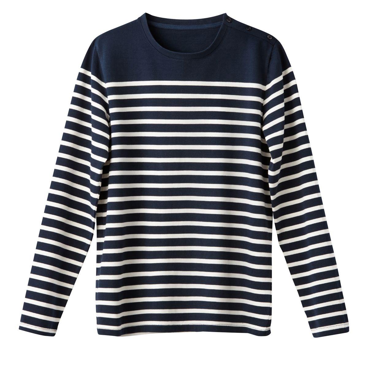T-shirt manches longues col rond marinière 100% co